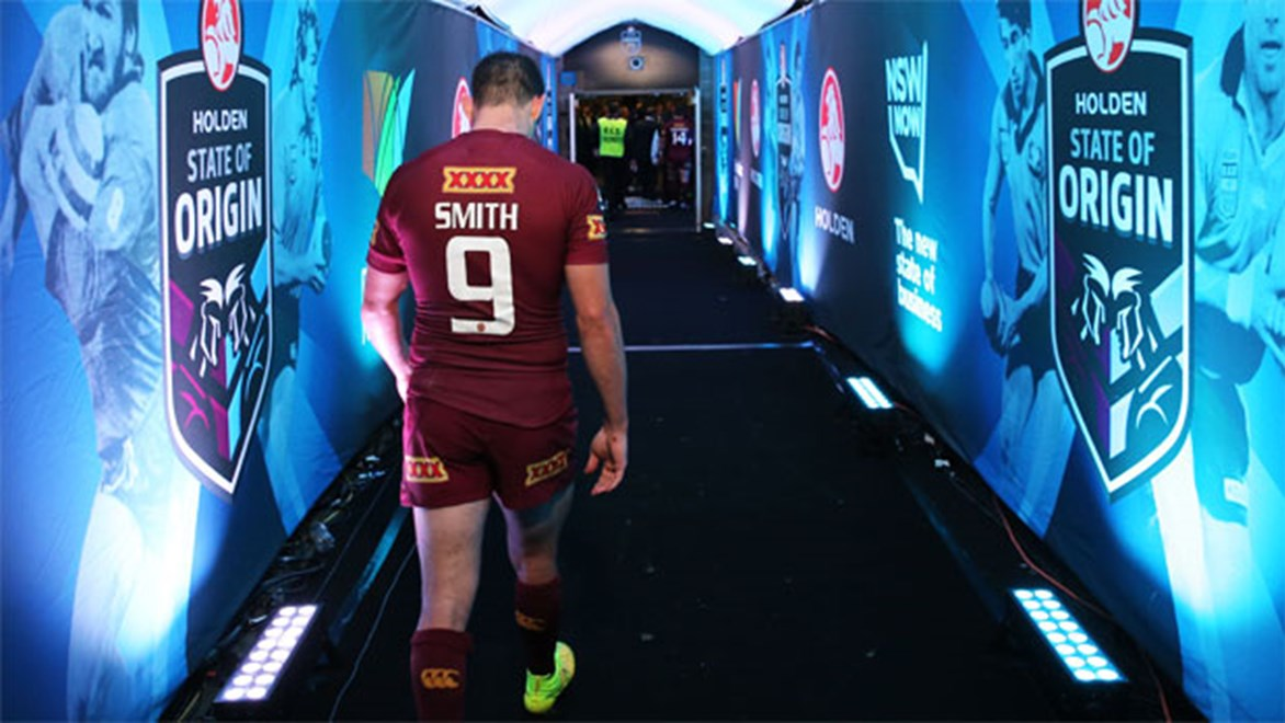 A dejected Cameron Smith walks back up the tunnel after Queensland's State of Origin II defeat.