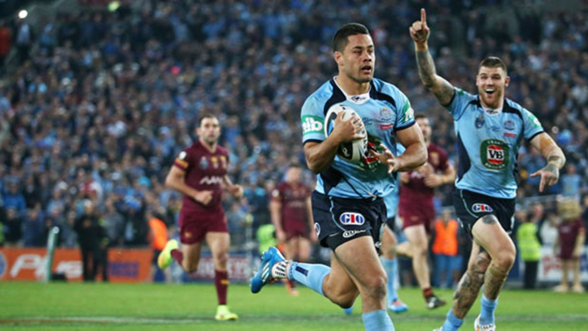 The last sighting of the match ball from Origin II, as Jarryd Hayne runs it dead over the Blues' in-goal. Seconds later the star fullback hoicked the Steeden into the crowd.