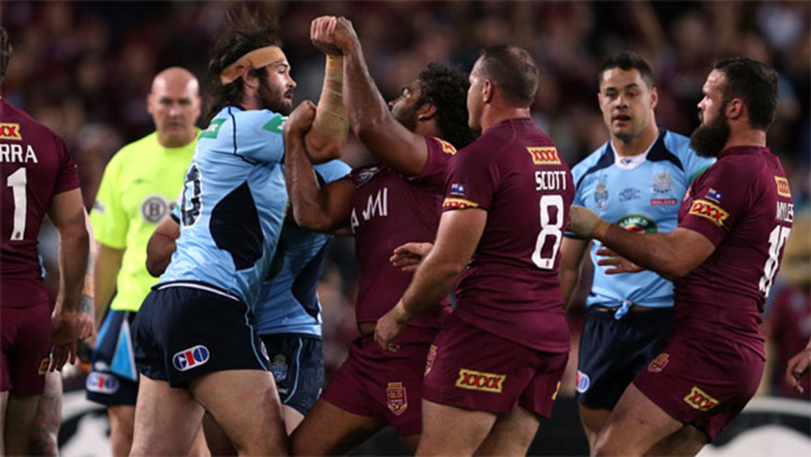 Let's tango... Woods danced with Maroons hitman Sam Thaiday last Wednesday, now he wants to be his teammate.