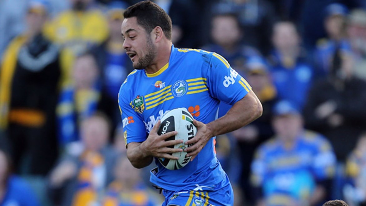 Jarryd Hayne in action for the Eels during their Round 16 loss to the Kinghts at Pirtek Stadium.