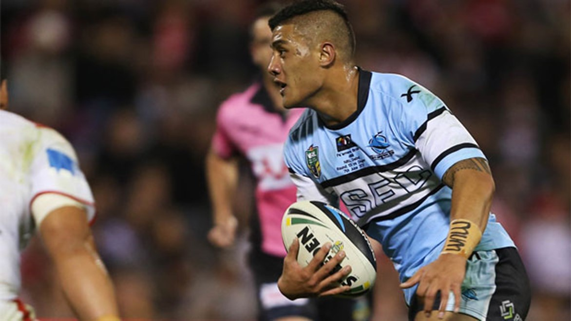 New chance: Fa'amanu Brown has been promoted to starting Sharks five-eighth since the demise of Todd Carney.