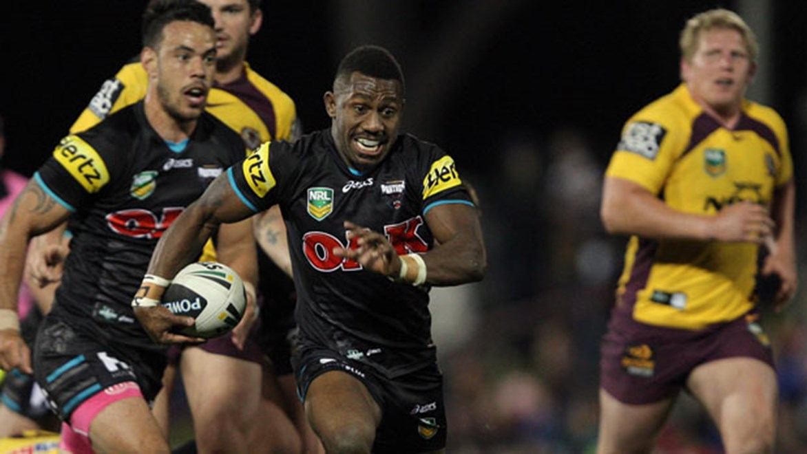 James Segeyaro makes a bust for Penrith against the Broncos.