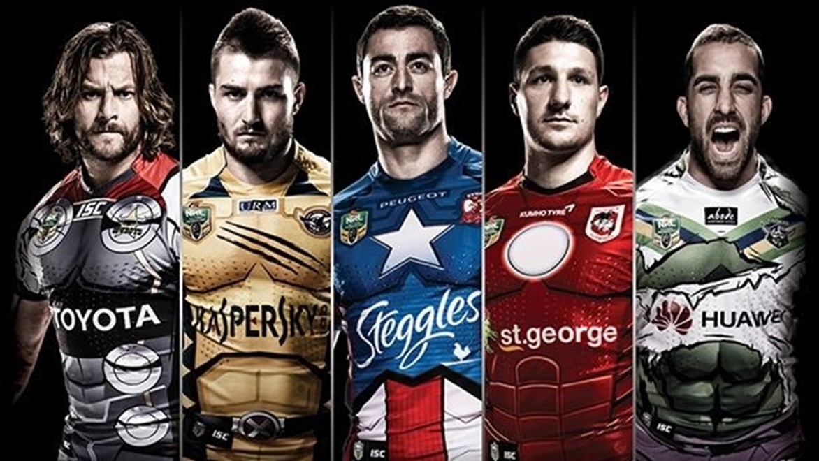 The Cowboys, Sea Eagles, Roosters, Dragons and Raiders will sport Marvel hero-themed jerseys in Round 21.