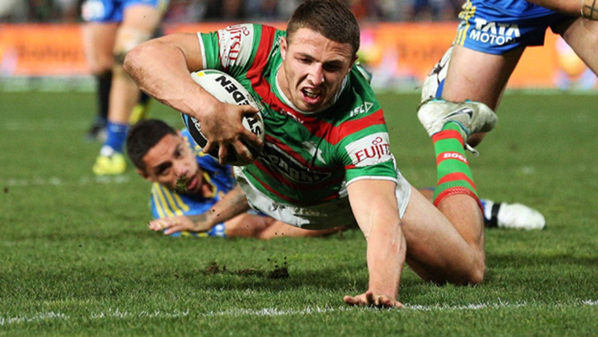 Sam Burgess scored two tries in the Rabbitohs' 32-12 win over the Eels at Pirtek Stadium in Round 19.