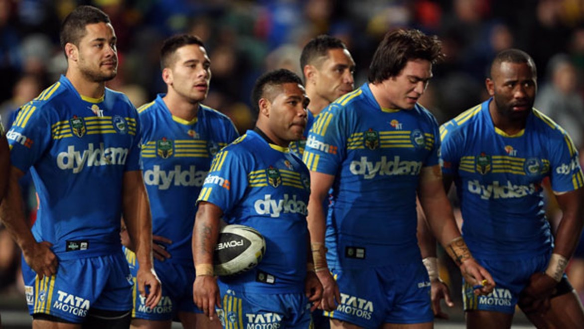 Eels captain Jarryd Hayne (left) has questioned the depth of talent currently available in the Parramatta squad.