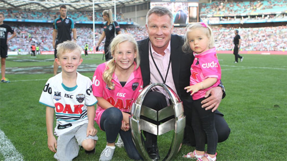 Top job... Panthers assistant coach Garth Brennan with the Holden Cup trophy last year.