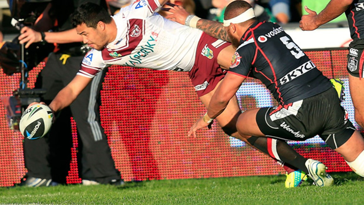 Former Warrior Peta Hiku was the star in the Sea Eagles' Round 20 win at Mt Smart Stadium.