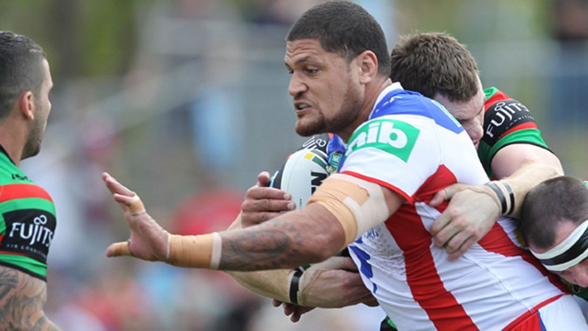 Willie Mason in action for the Knights during their Round 21 clash with the Rabbitohs.