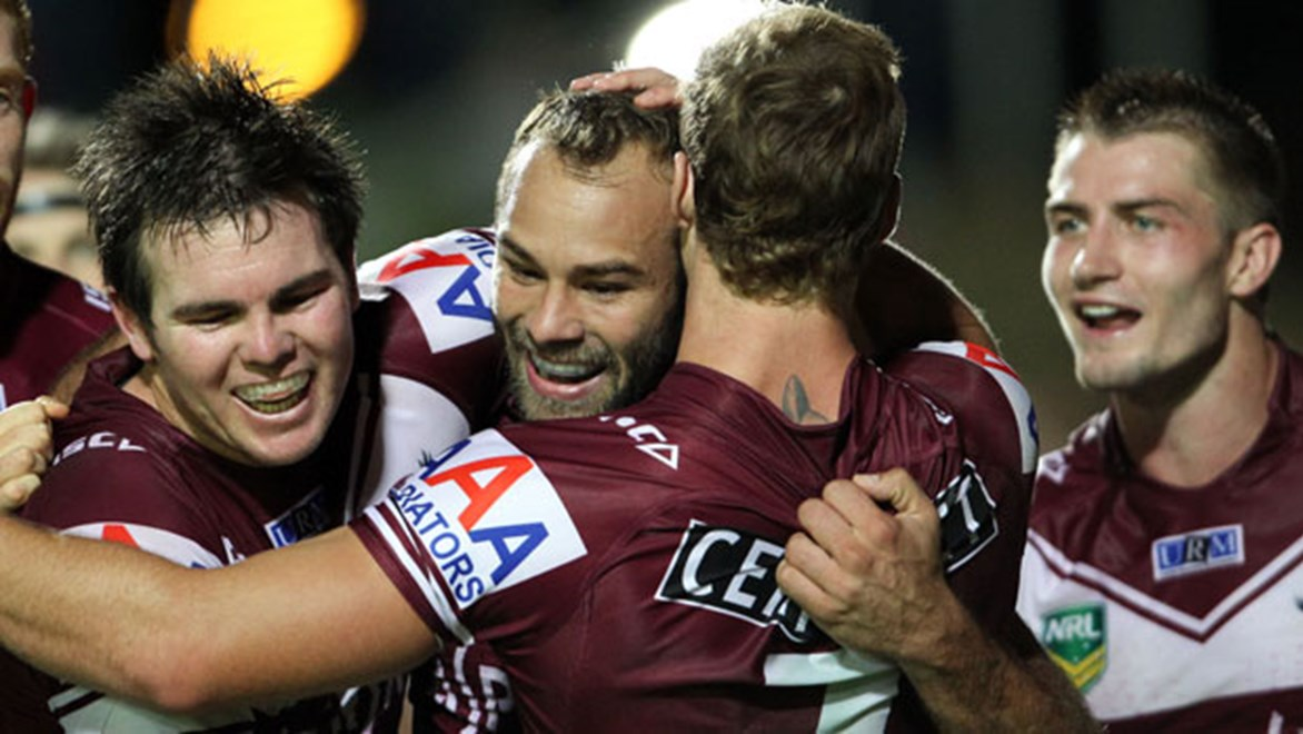 Despite the suggestion of disunity off the field, Manly always present a united front in the field of battle.
