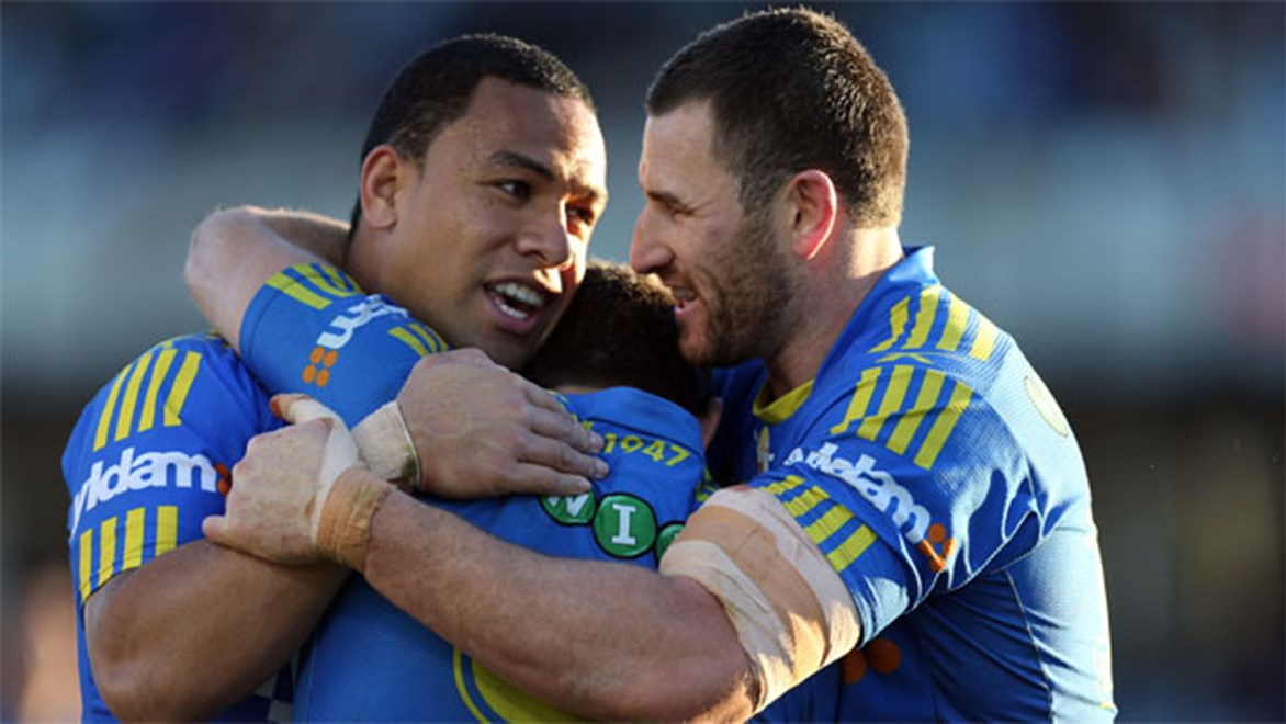 Good times... Eels veteran Ben Smith celebrates with team-mates after a try against the Sharks last week.