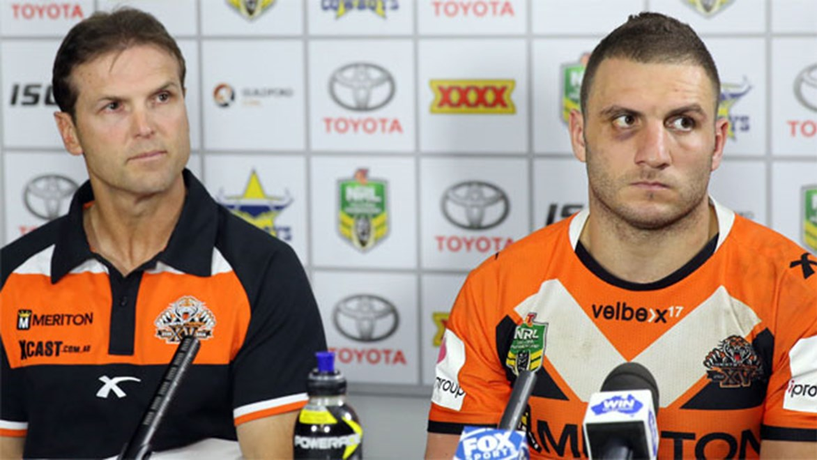 Wests Tigers coach and captain Mick Potter and Robbie Farah faced the media after a huge loss to the Cowboys in Townsville.
