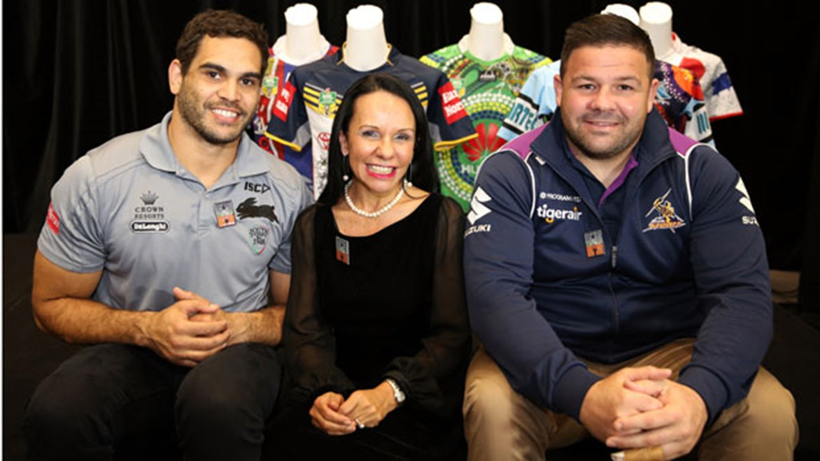 Greg Inglis, the Hon Linda Burney and George Rose launched the NRL's Close The Gap Round on Tuesday.