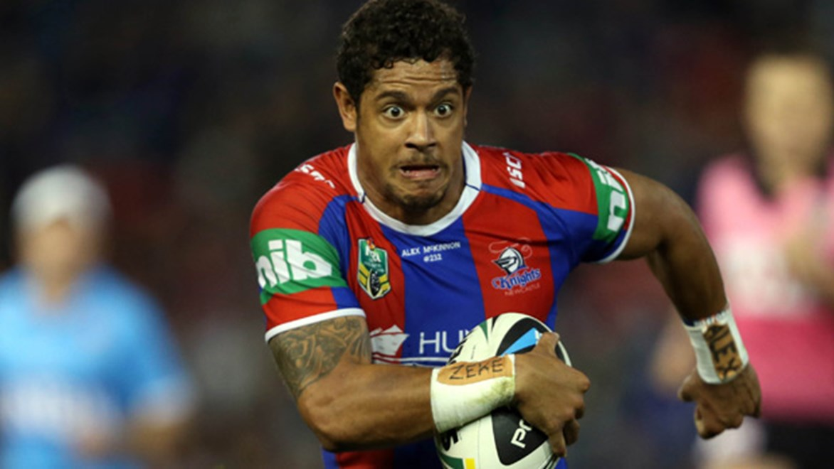 Dane Gagai in action for the Knights in their Round 22 win over the Storm.