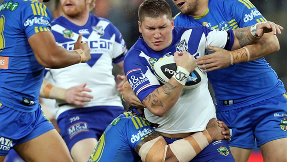 Greg Eastwood in action for the Bulldogs during their Round 23 clash with the Eels at ANZ Stadium.
