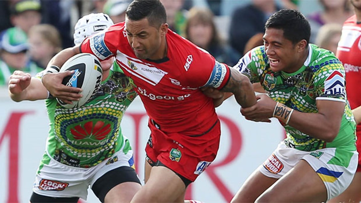 Benji Marshall in action for the Dragons against Canberra in the NRL's Close the Gap round.