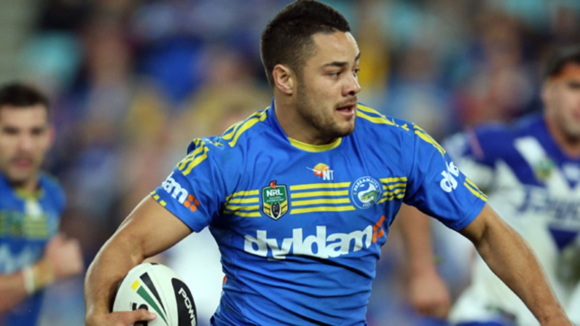 Jarryd Hayne in action for the Eels in their Round 23 loss to the Bulldogs at ANZ Stadium.