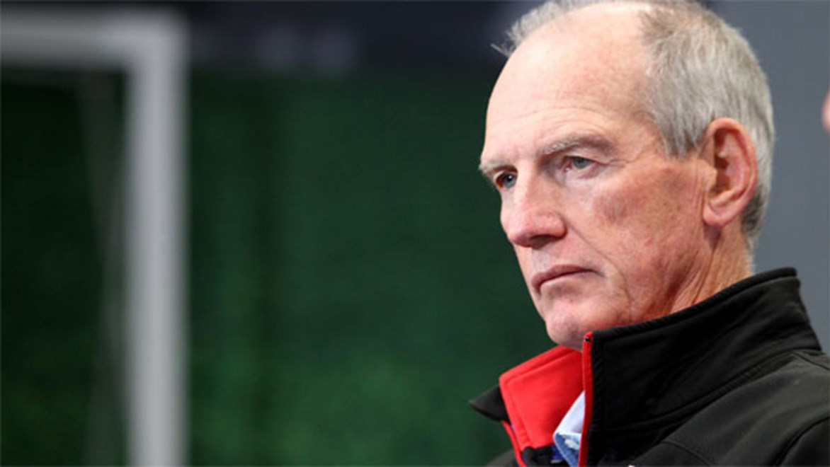 Future Broncos coach Wayne Bennett after his Knights were thumped by Brisbane in their Round 24 clash.