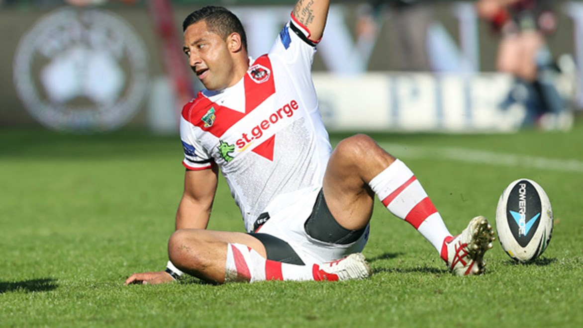 Benji Marshall celebrates scoring a try in the Dragons' Round 24 win over the Titans.