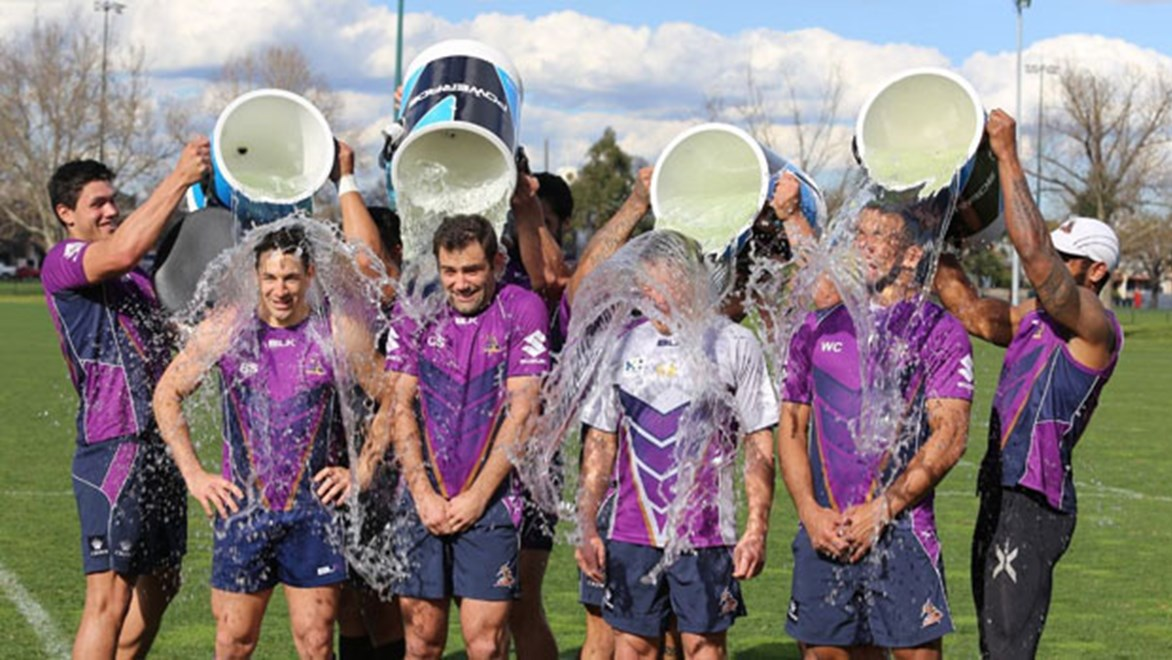 The Melbourne Storm took the Ice Bucket Challenge to raise funds for Motor Neurone Disease research and have nominated the Cowboys to get involved.