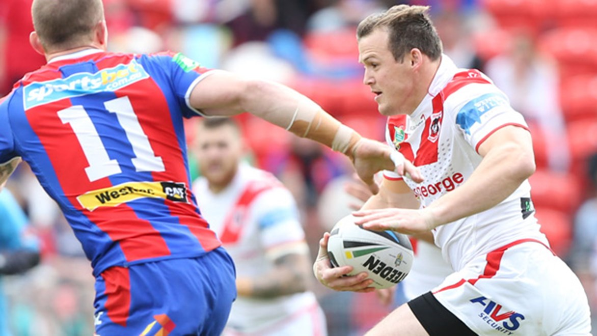 Brett Morris in action for the Red V in their final game of the season against the Knights at Hunter Stadium.