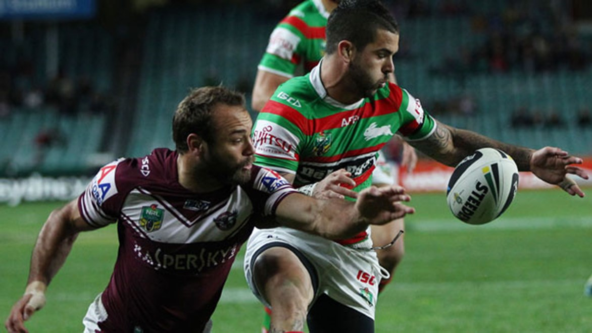Adam Reynolds gathers in the Steeden to score the first of his two tries against the Sea Eagles.