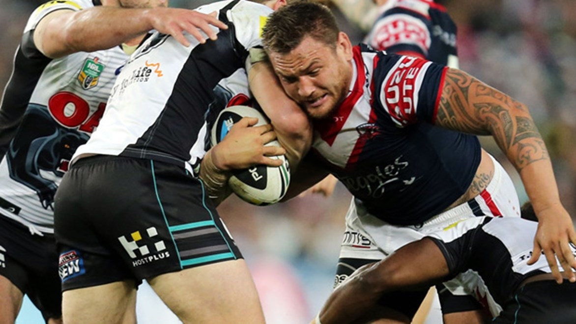 Jared Waerea-Hargreaves charges forward during the Roosters' qualifying final against the Panthers.