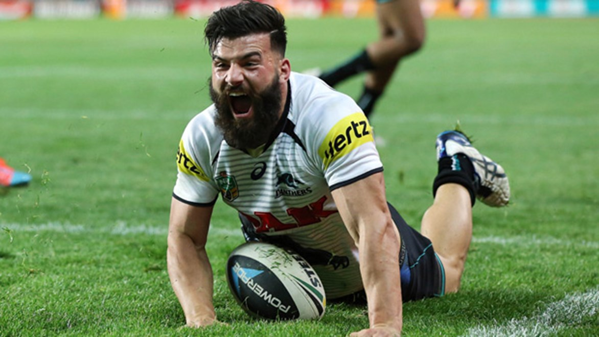Josh Mansour celebrates during the Panthers' qualifying final victory over the Roosters.