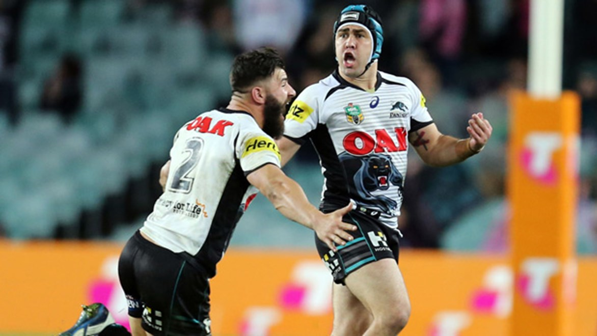Jamie Soward celebrates his match-winning field goal in the Panthers' qualifying final win over the Roosters.