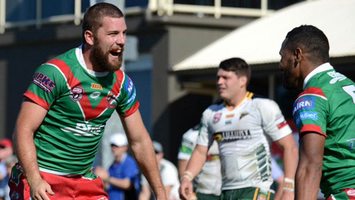 Wynnum Manly pair Mitchell Buckett and Benaiah Bowie celebrate one of the five tries the pair scored in the Seagulls' 34-22 win over Ipswich on Sunday.