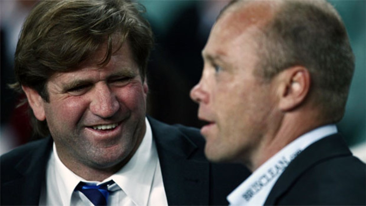 Master v the apprentice: Bulldogs coach Des Hasler with Sea Eagles counterpart Geoff Toovey.