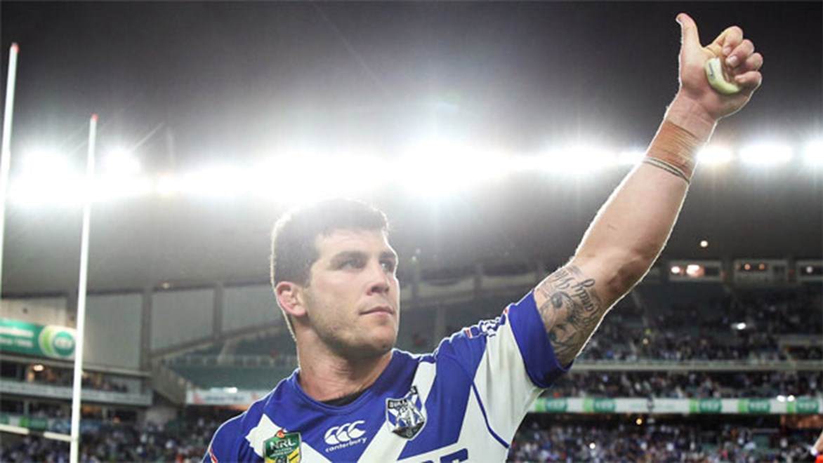 Bulldogs skipper Michael Ennis gives the thumbs up after last week's epic win over Manly.