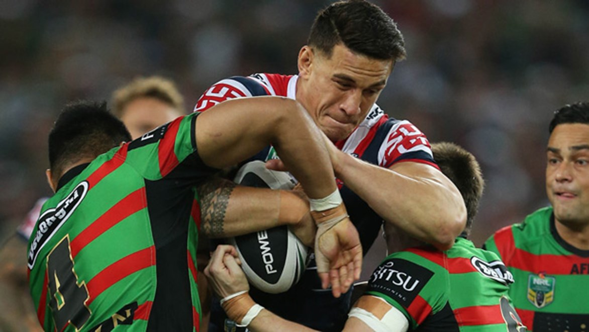 Sonny Bill Williams charges forward during the Roosters' preliminary final meeting with the Rabbitohs at ANZ Stadium.