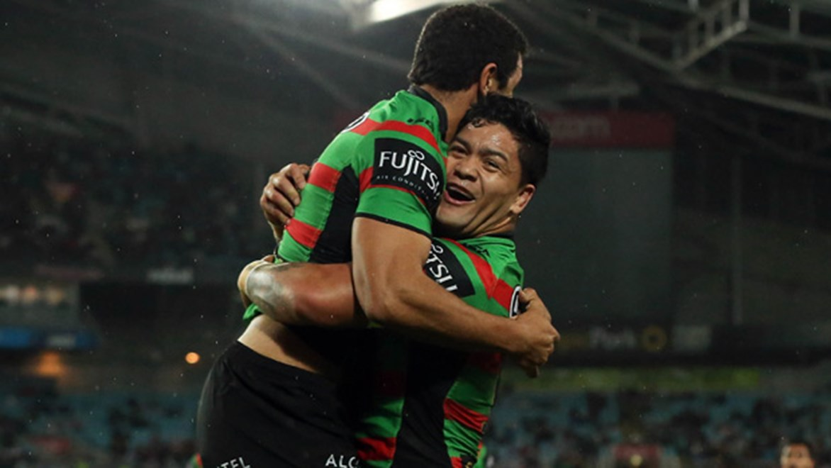 Issac Luke and Alex Johnston celebrate during the Rabbitohs' preliminary final win over the Roosters.