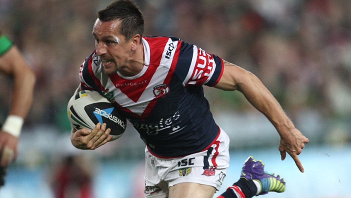 Mitchell Pearce in action for the Roosters in their preliminary final loss.