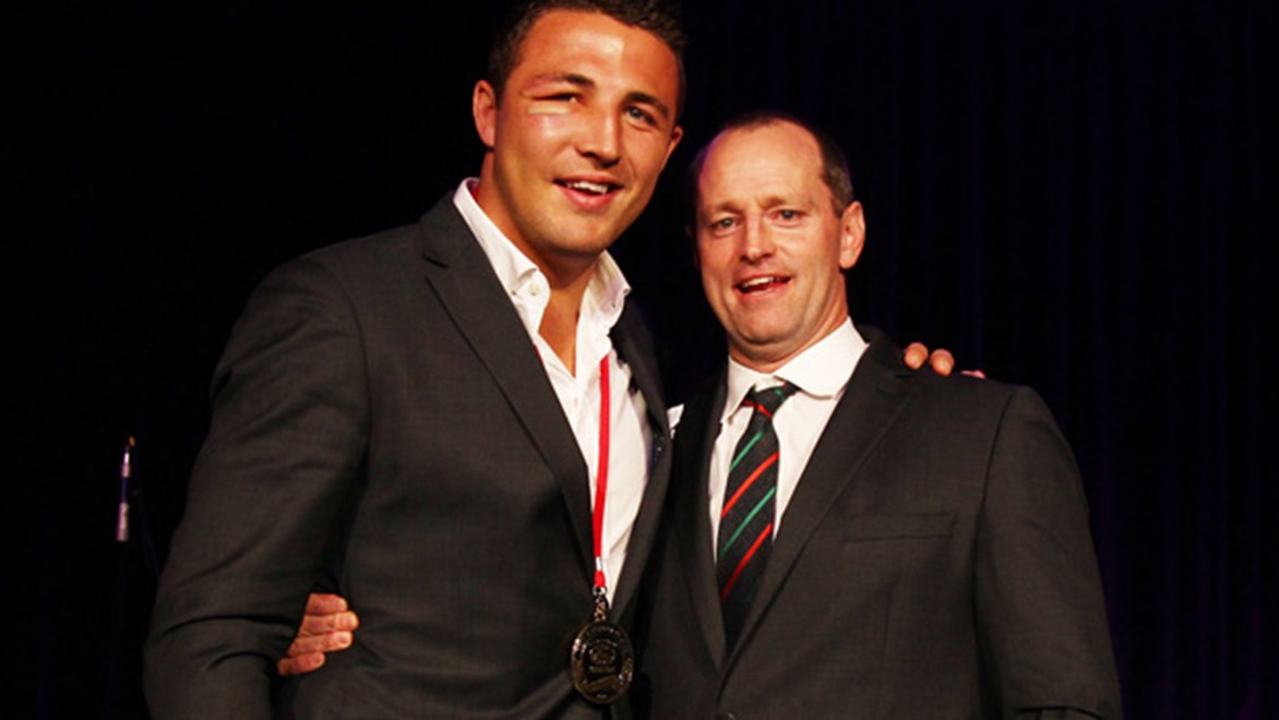 Sam Burgess finished his time at the Rabbitohs with five awards at the 2014 Red and Green Ball.