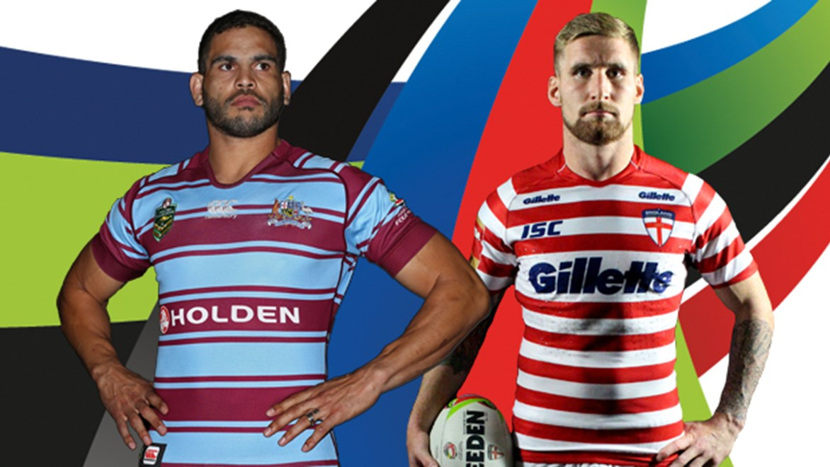 Greg Inglis and Sam Tomkins in the commemorative jerseys to be worn in Sunday's Four Nations match to honour the Rorke's Drift Test.