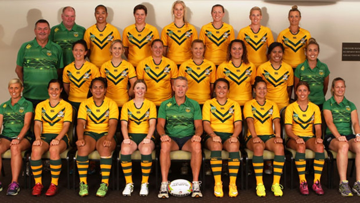 The Jillaroos team to face New Zealand this week, including debutant Kezie Apps (back row, centre).