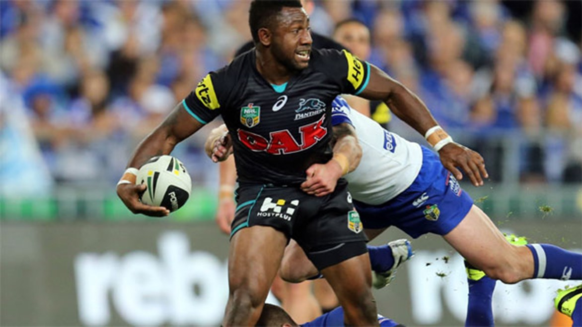 James Segeyaro gets an offload away during the Panthers' preliminary final against the Bulldogs.