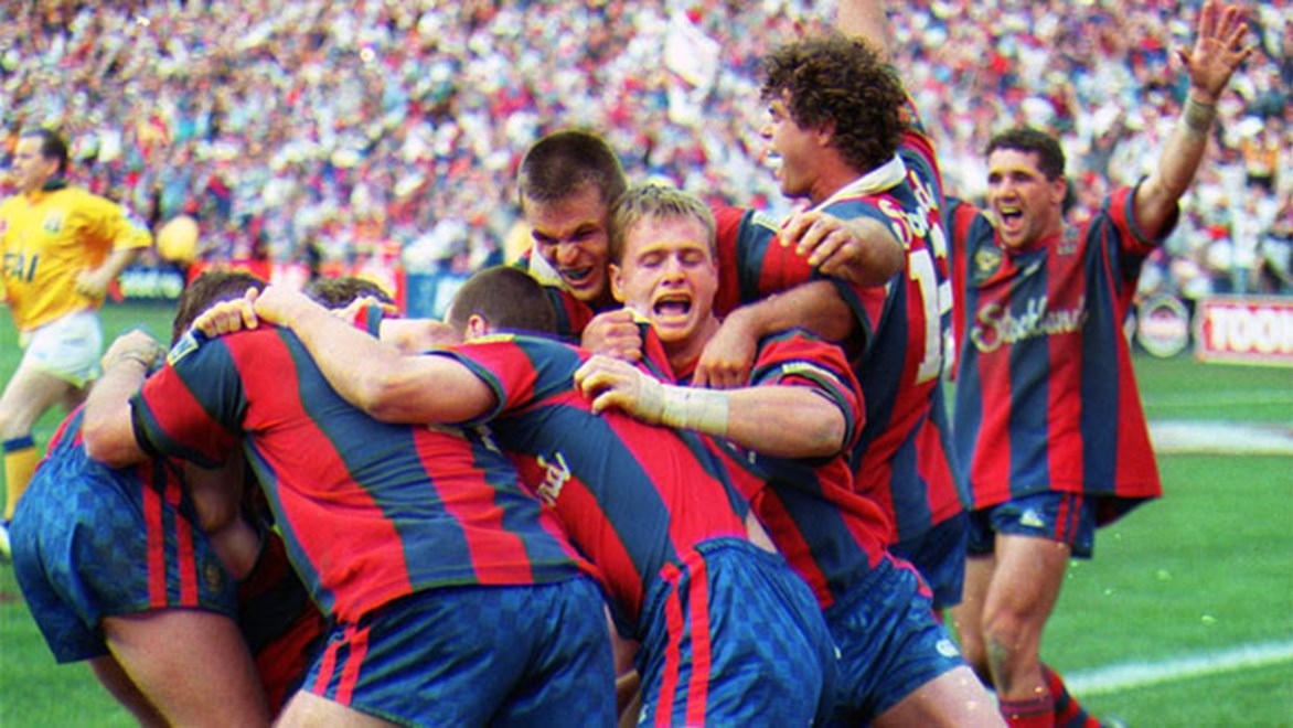 The Newcastle Knights celebrate winning the 1997 ARL Grand Final.