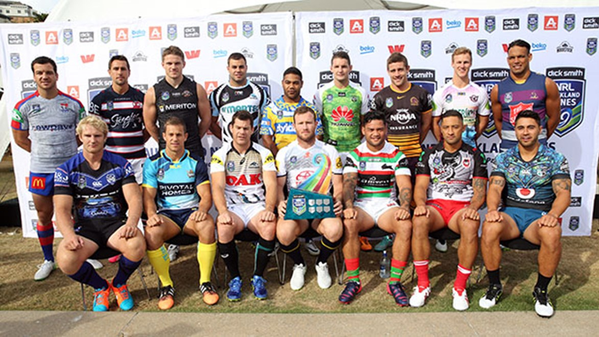 The 16 captains of the 2015 NRL Auckland Nines.