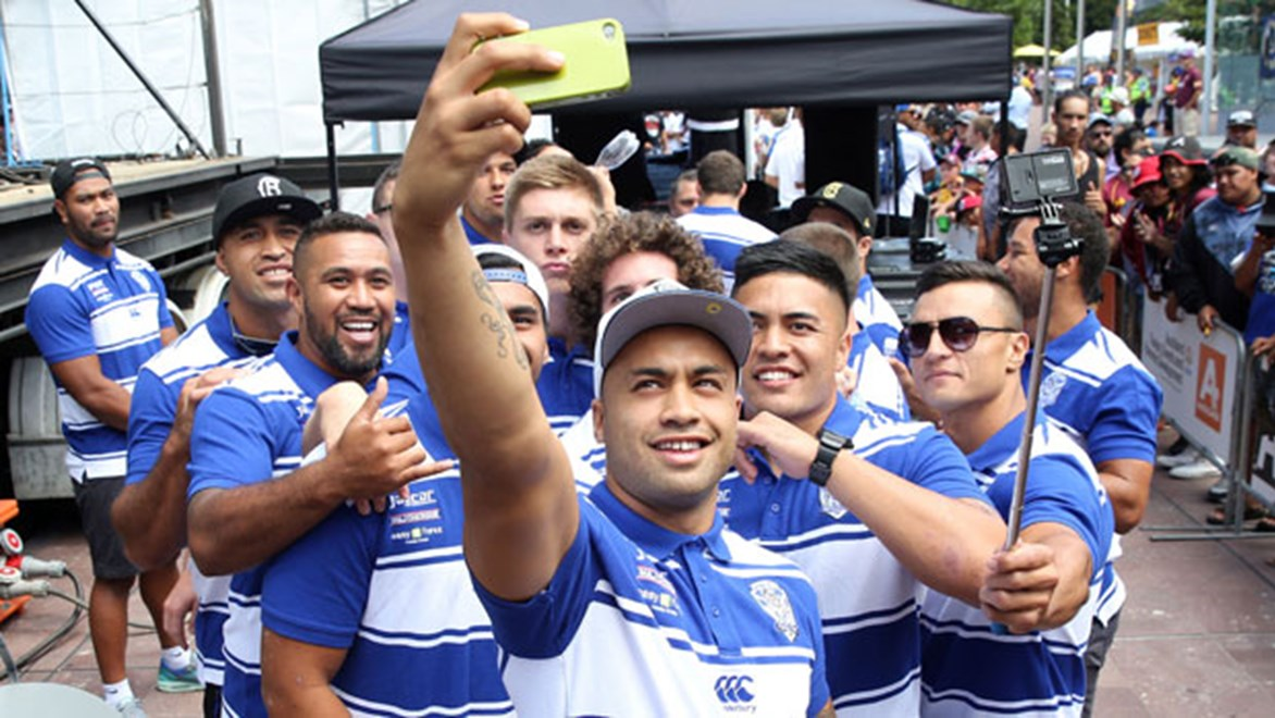 Bulldogs players get into the 'selfie' spirit at the NRL Fan Day held in Aotea Square on Friday.
