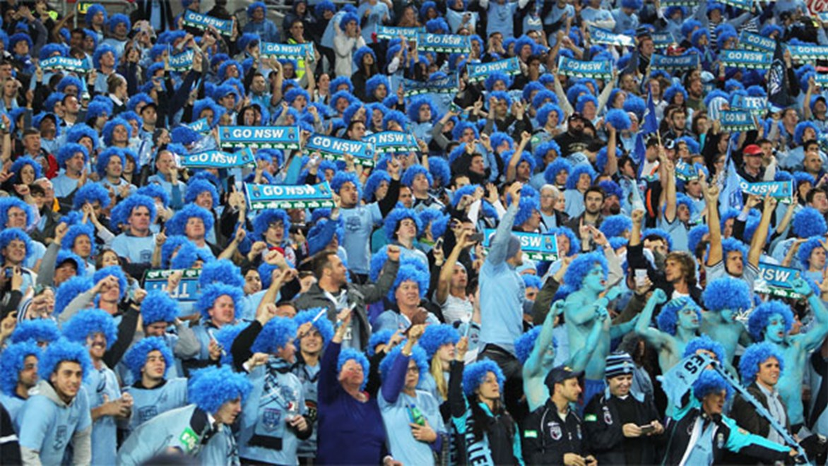 NSW Blues fans make their voices heard in Sydney in Game One, 2013.