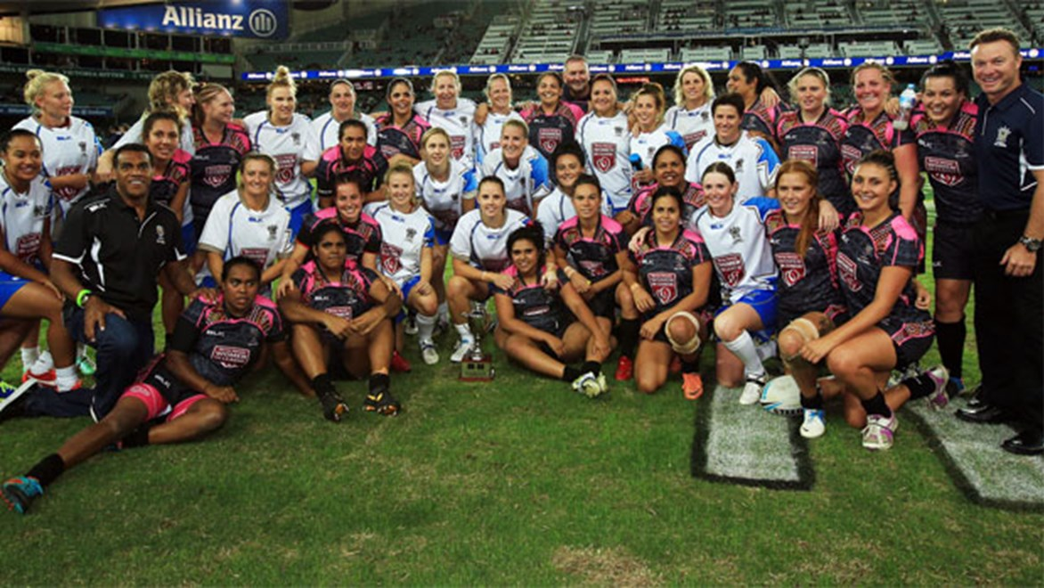 Members of the women's All Stars teams after their last contest in 2014.