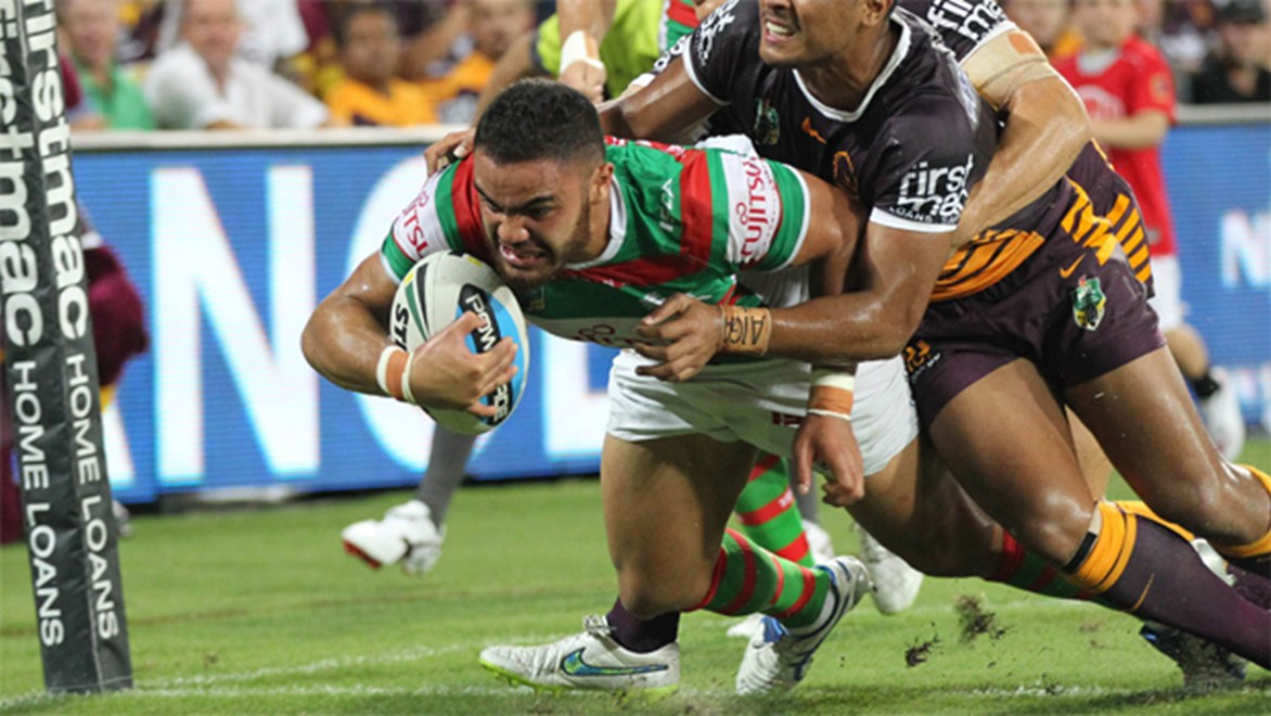 Rabbitohs centre Dylan Walker scored the first try of 2015 in a big win over Brisbane.