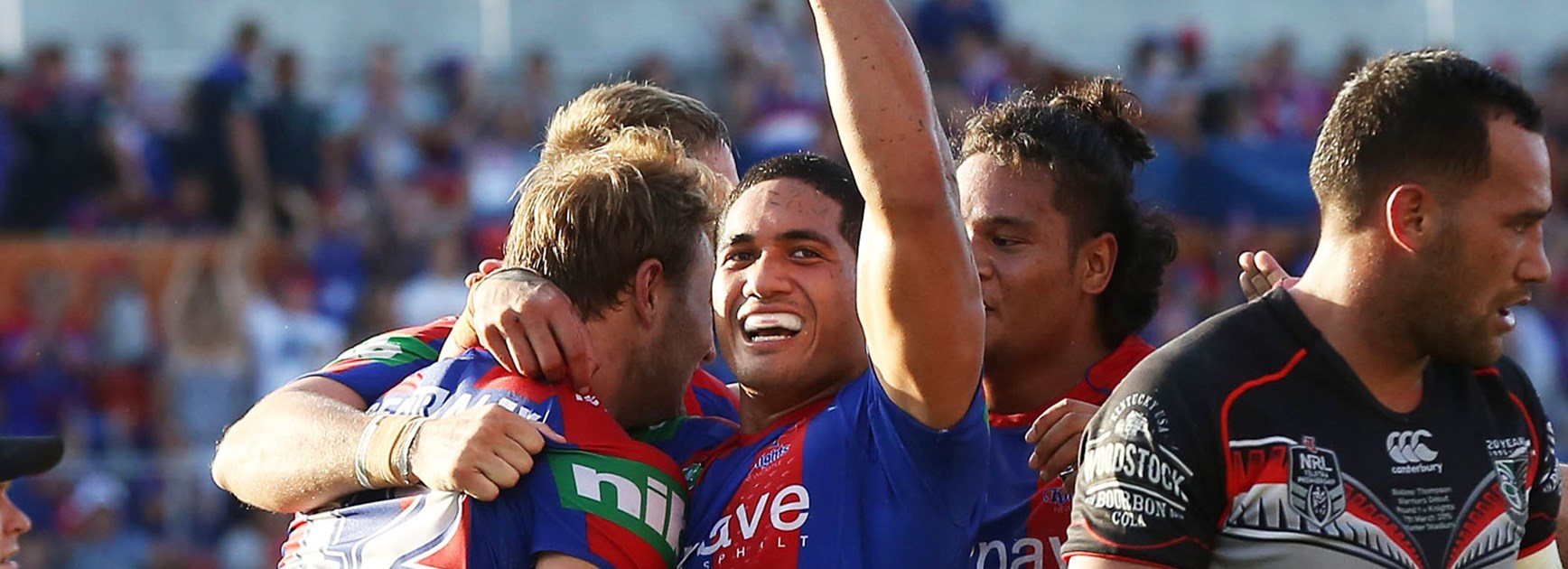 Sione Mata'utia celebrates a try during Newcastle's Round 1 win over the Warriors.