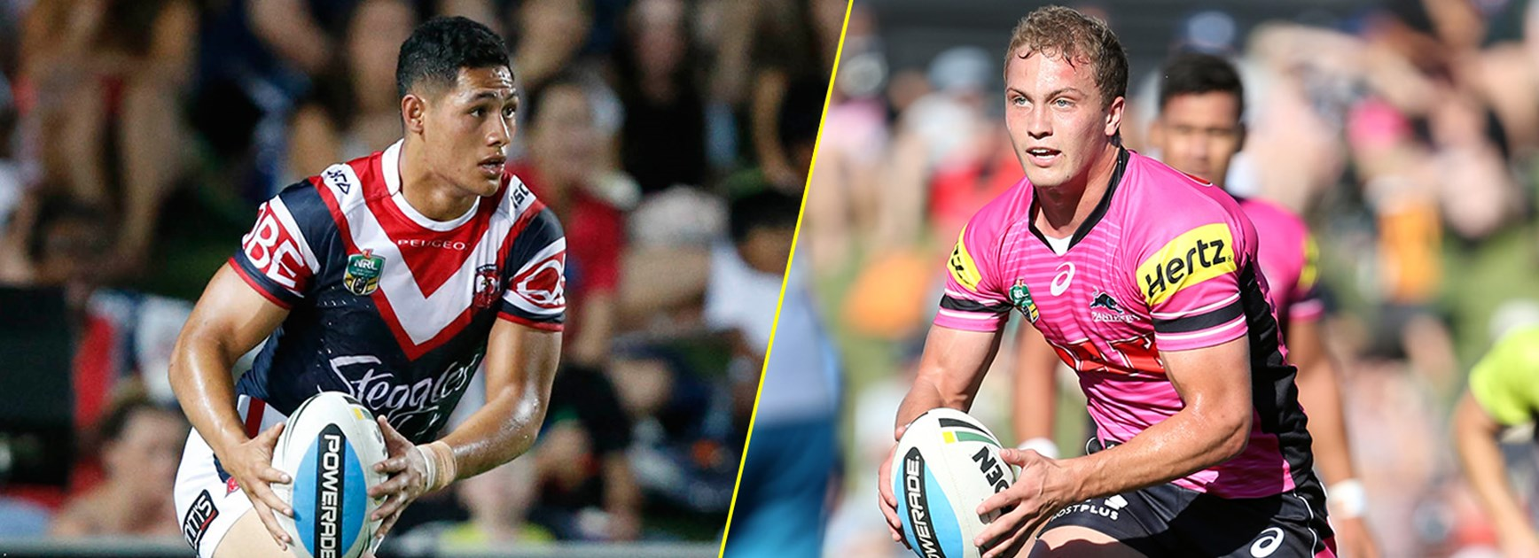 Fullback showdown: Roger Tuivasa-Sheck takes on Matt Moylan.