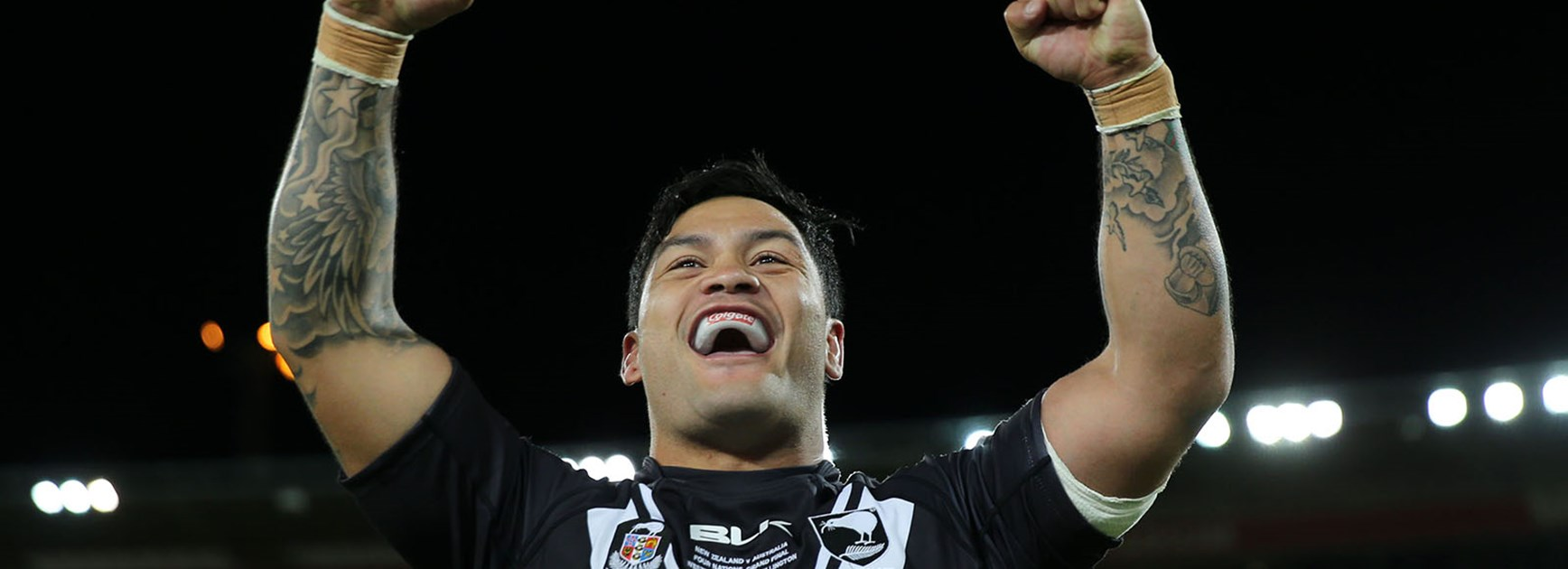 Issac Luke celebrates as the Kiwis win the 2014 Four Nations Final.