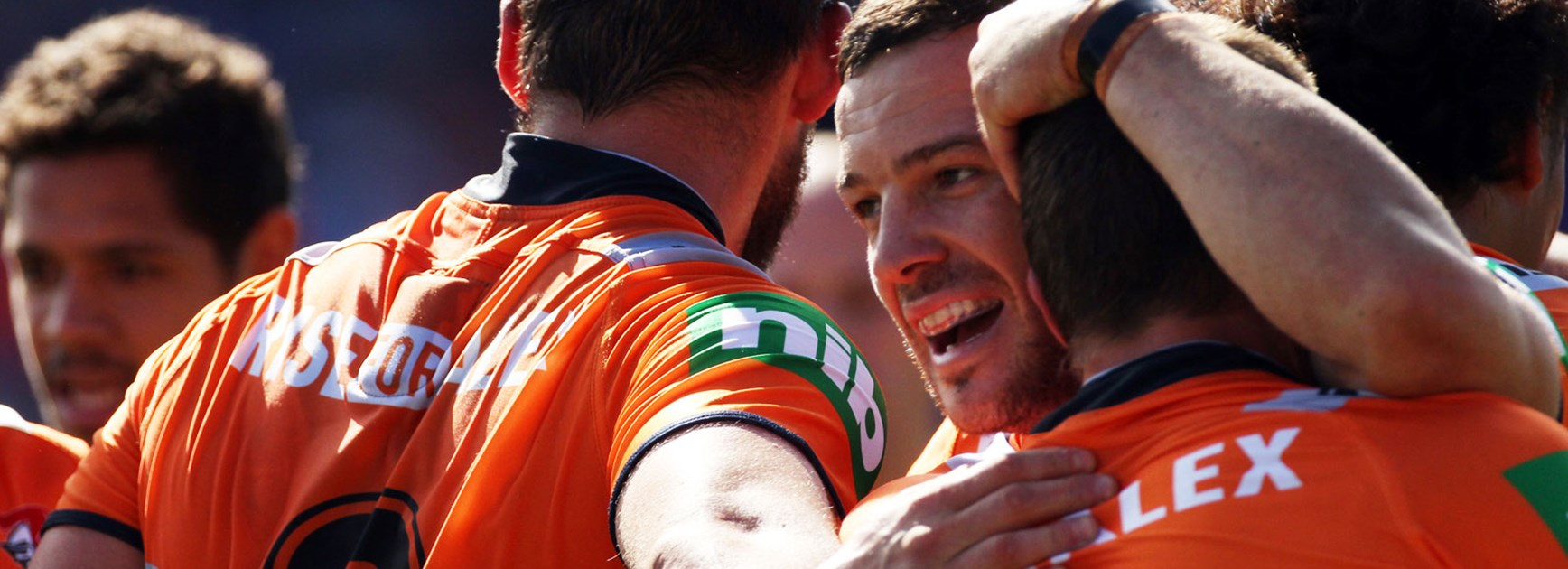 Jarrod Mullen celebrates with his Newcastle teammates during their Round 4 win over Penrith.