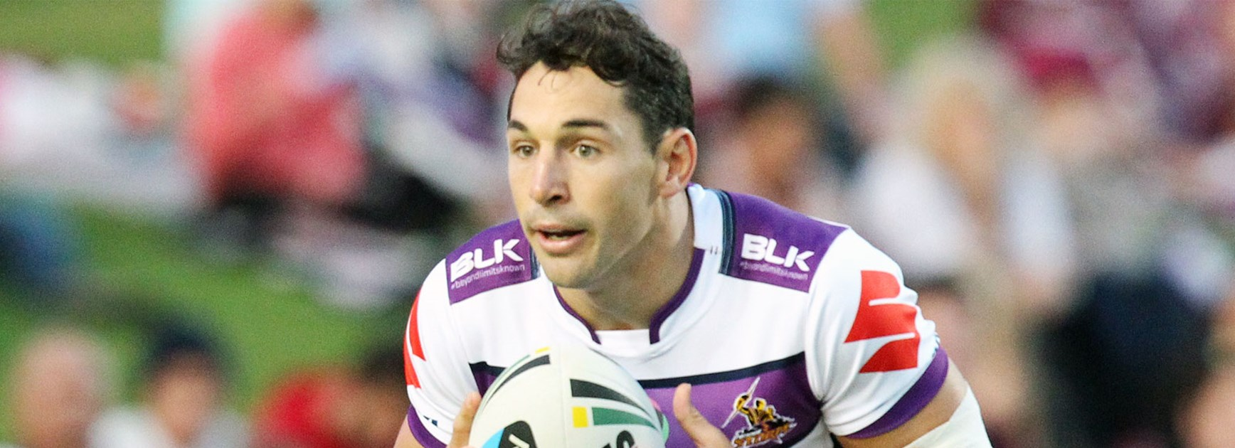 Billy Slater in action during Melbourne's Round 2 loss to Manly at Brookvale Oval.