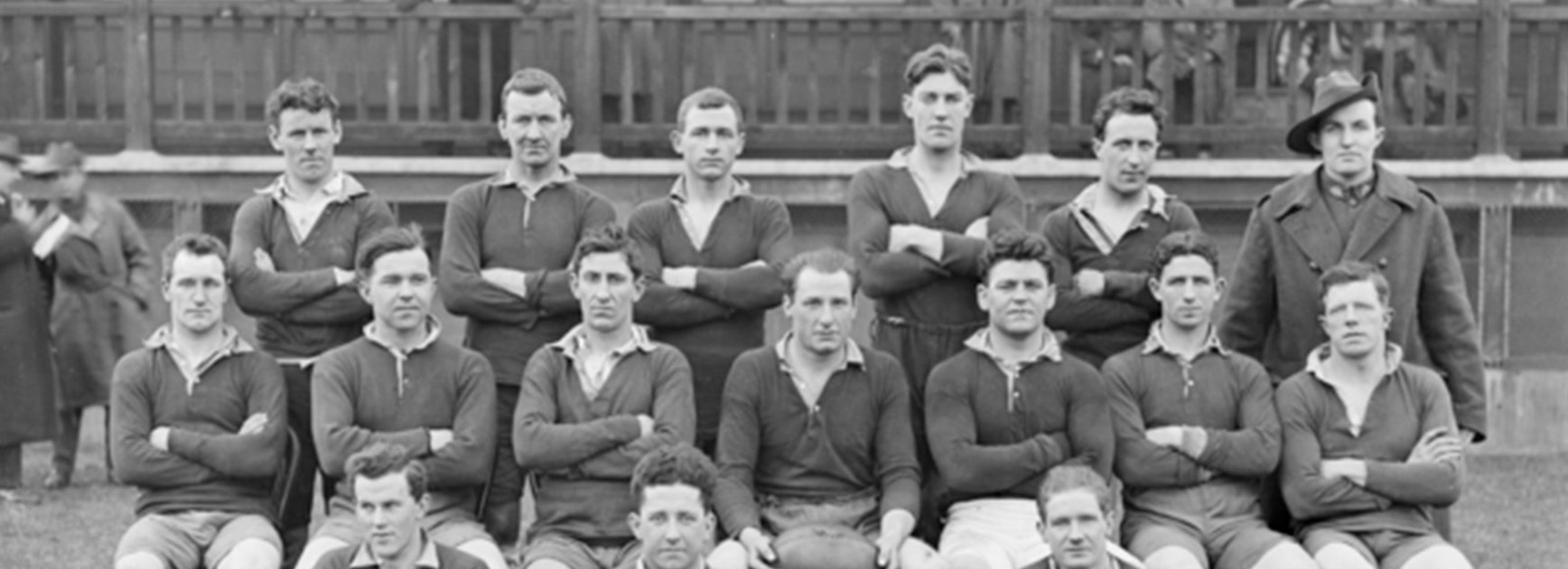 Stan Carpenter (back row; second from left) was captain of Newcastle in their first season in 1908.
